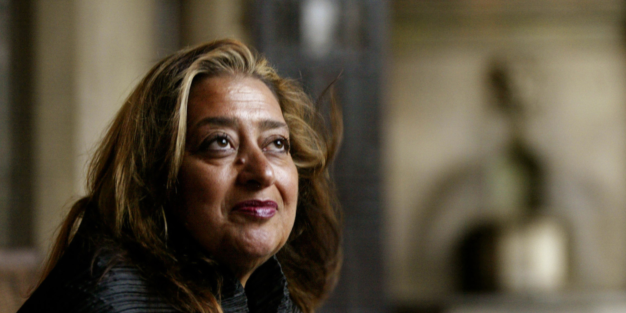 Pritzker Architecture Prize winner for 2004 Zaha Hadid poses Sunday, March 14, 2004, in West Hollywood, Calif. Hadid, an Iraqi-born architect who struggled for years to get her audacious and unconventional designs built, was named winner Sunday, March 21, 2004. She is the first woman to the win architecture's most prestigious prize in its 26-year history. (AP Photo/Kevork Djansezian)
